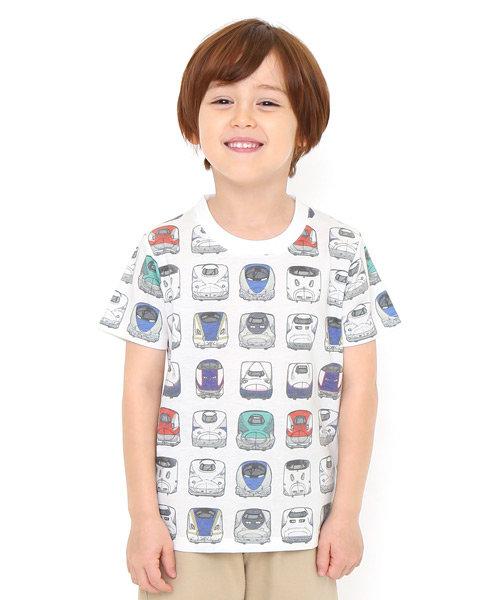 キッズTシャツ/でんしゃのずかんパターン(でんしゃのずかんショートスリーブティー)