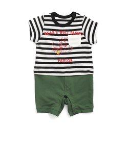 Boy'sボーダーTシャツロンパス