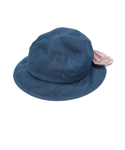 45606a80ec33d ... ベビーリボン日よけ付帽子 UVカット ...