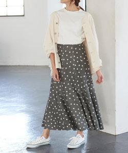 リネン混ドット柄フレアロングスカート