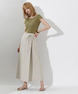 リネンライクラップAラインリボン付スカート