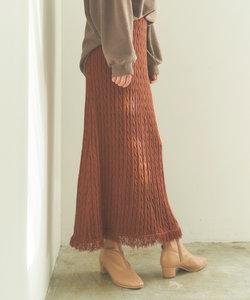 ケーブルフリンジニットAラインスカート
