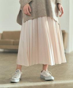 プリーツレザースカート