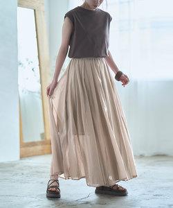 インド綿ボリュームフレアマキシスカート