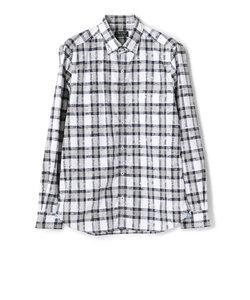 ストレッチ フラワー&チェック柄 ジャガードシャツ/JAPAN MADE