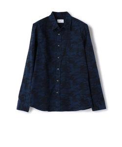 ストレッチ 迷彩ジャガード柄シャツ/起毛シャツ