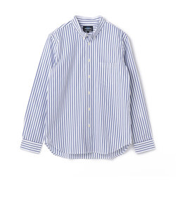 小衿ストライプボタンダウンシャツ