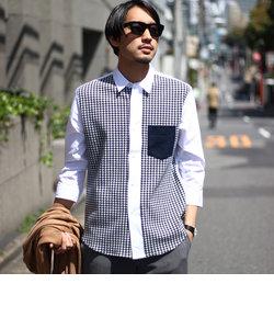 【千鳥柄】切り替えハイブリッドシャツ