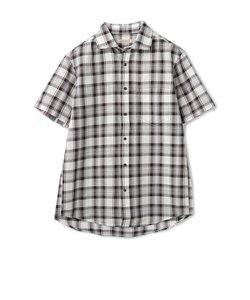 コットンリネン半袖チェックシャツ