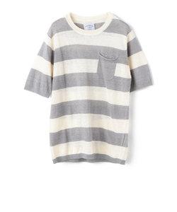 フレンチリネンボーダーポケットニットTシャツ