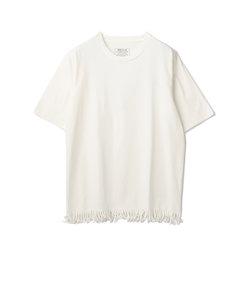 5分袖カットフリンジTシャツ