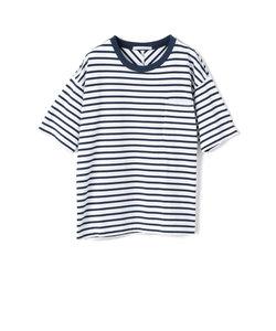 ボーダーポケットTシャツ/Uネック/5分袖/ドロップショルダー