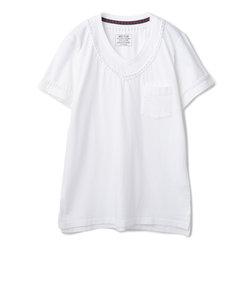 編み込みデザインポケットTシャツ