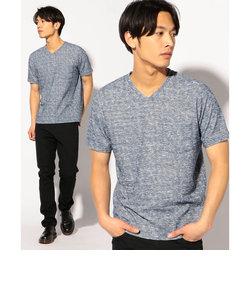 VネックランダムパイルパッチポケットTシャツ