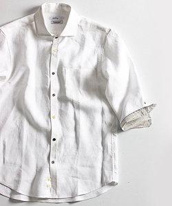 <新色追加>フレンチリネンシャツ(ホリゾンタルカラー、7分袖)
