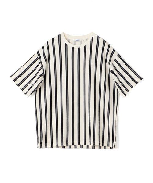 総柄フクレジャガードストライプTシャツ