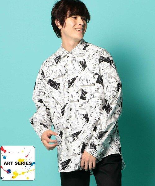 Aラインモノトーンデザインプリントシャツ[JAPAN FABRIC]