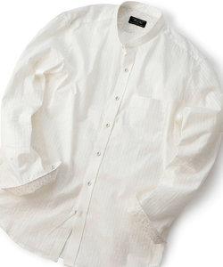 ストライプ ストレッチバンドカラーシャツ