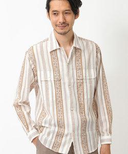 【オープンカラー】 パティックプリントキューバシャツ