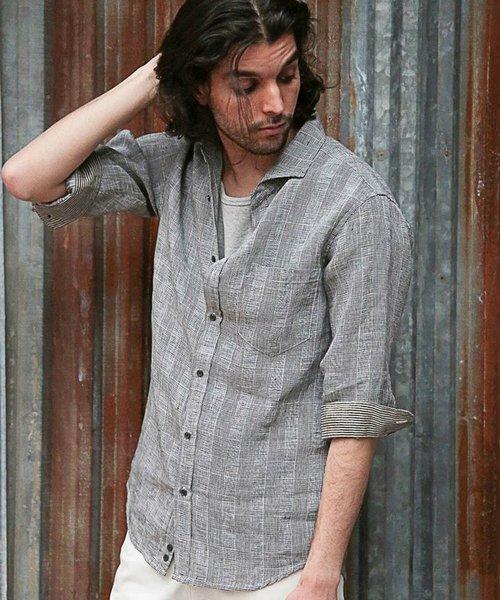 フレンチリネン七分袖シャツ