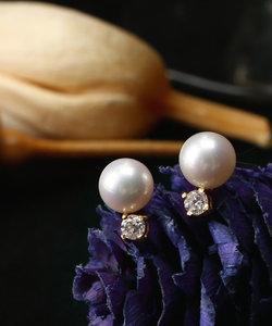 1粒ダイヤを添えた18金パールピアス