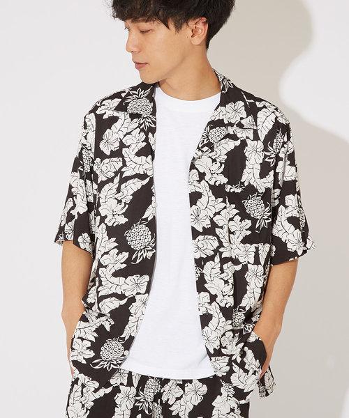 花柄半袖開襟レーヨンシャツ