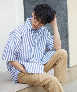 半袖ストライプ柄ロング丈シャツ