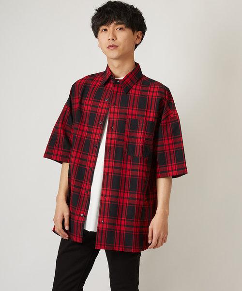 半袖チェック柄ロング丈シャツ