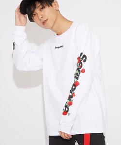 【Sequence】長袖ローズスリーブ刺繍Tシャツ