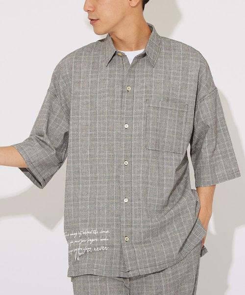 綿麻ストレッチ半袖ワイドシャツ