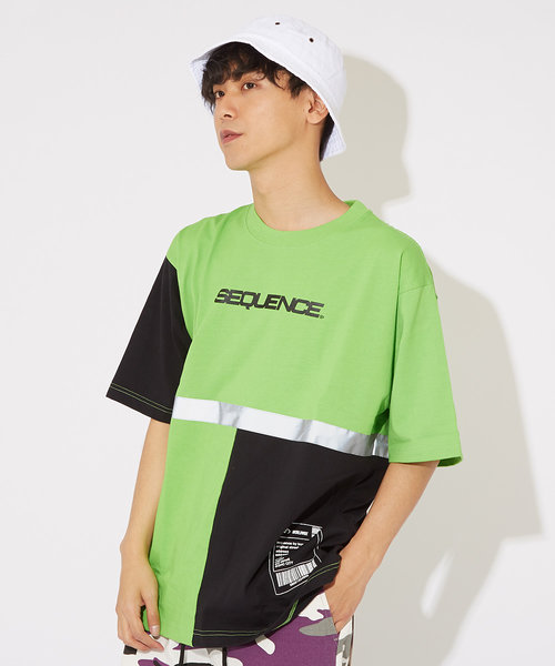 【Sequence】半袖リフレクター切替Tシャツ