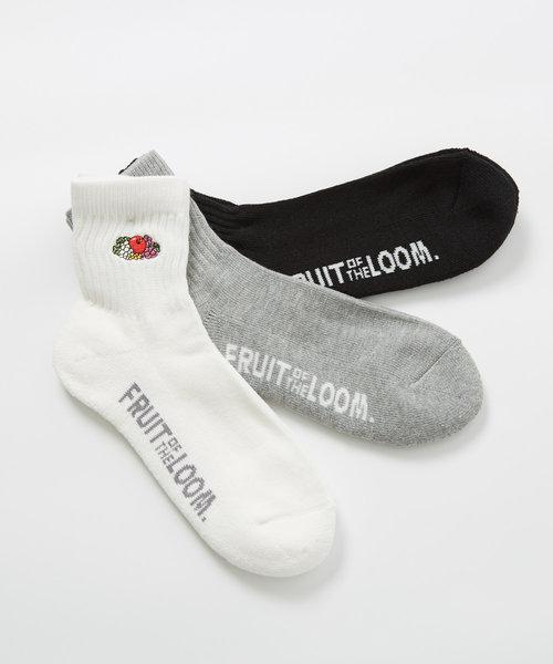 【FRUIT OF THE LOOM】3足セット刺繍ソックス