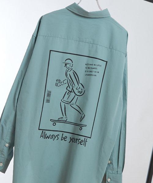 バックイラストオーバーシャツ