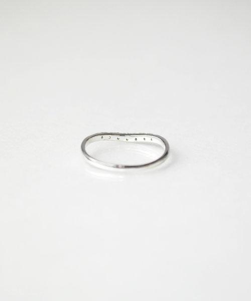 【anqanq.】K10ダイヤ ピンキーリング カーブ