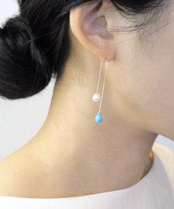 【anq.】K10・dropswingピアス(ホワイトトパーズ、ターコイズ)
