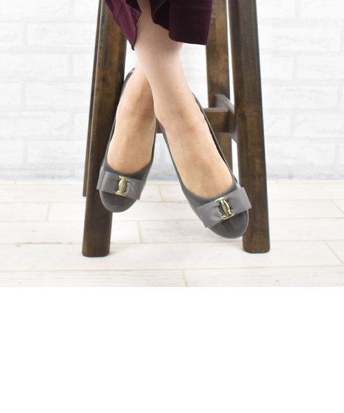 [やわらか素材] リボン人工皮革バレエシューズ (Britney-3)