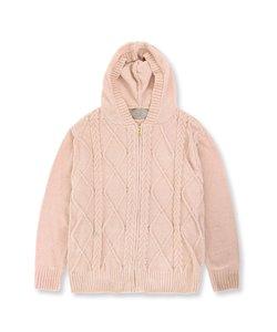 teddy knit テディニット ケーブル編みパーカー