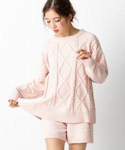 teddy knit テディニット ケーブル編みプルオーバー