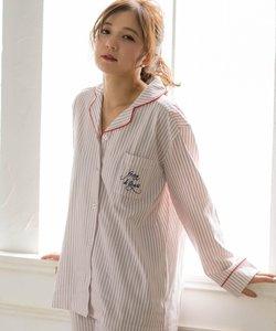 cotton-me 綿100%シリーズ パジャマシャツ長袖上下セット(花柄・ストライプ)