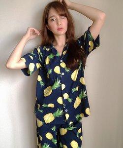 cotton-me天然繊維100%パジャマシャツセットアップ(ギンガムチェック・パイナップル)