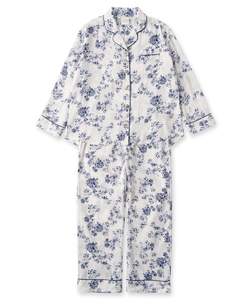 soft-gauze-clothパジャマシャツ長袖上下セット(花柄・パステルストライプ)