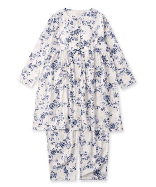 soft-gauze-clothマタニティチュニックセット長袖上下セット(花柄・パステルストライプ)