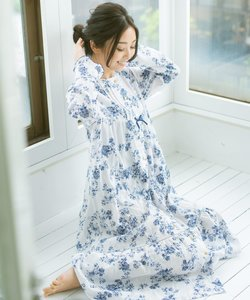soft-gauze-cloth前開き長袖ロングワンピース(花柄)