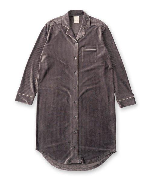 creamy-velorパジャマシャツ長袖ワンピース(型押し無地・モチーフドット)