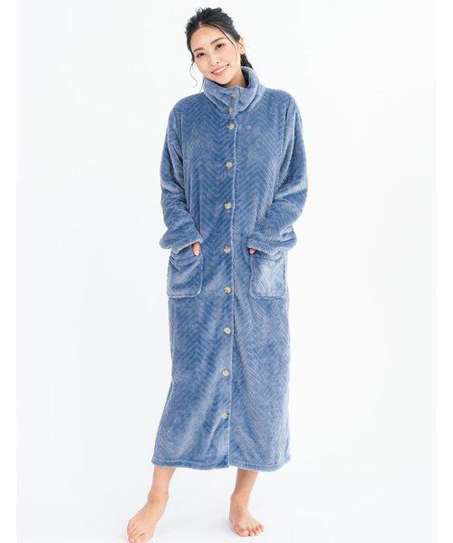 memory fleece  gown前開きロングガウン(スタンドカラー)