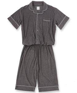 Men's set-up半袖パジャマシャツ・ハーフパンツ上下セット(メンズ)