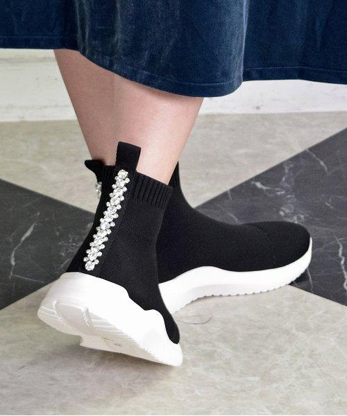 【Bridget Birkin】バックビジューテープスニーカーブーツ