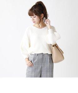 畦編みボリューム袖ニット