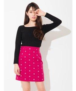 小紋刺繍台形ミニスカート