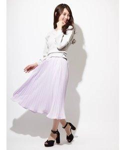 ベルト付ニット×プリーツスカートセットアップ